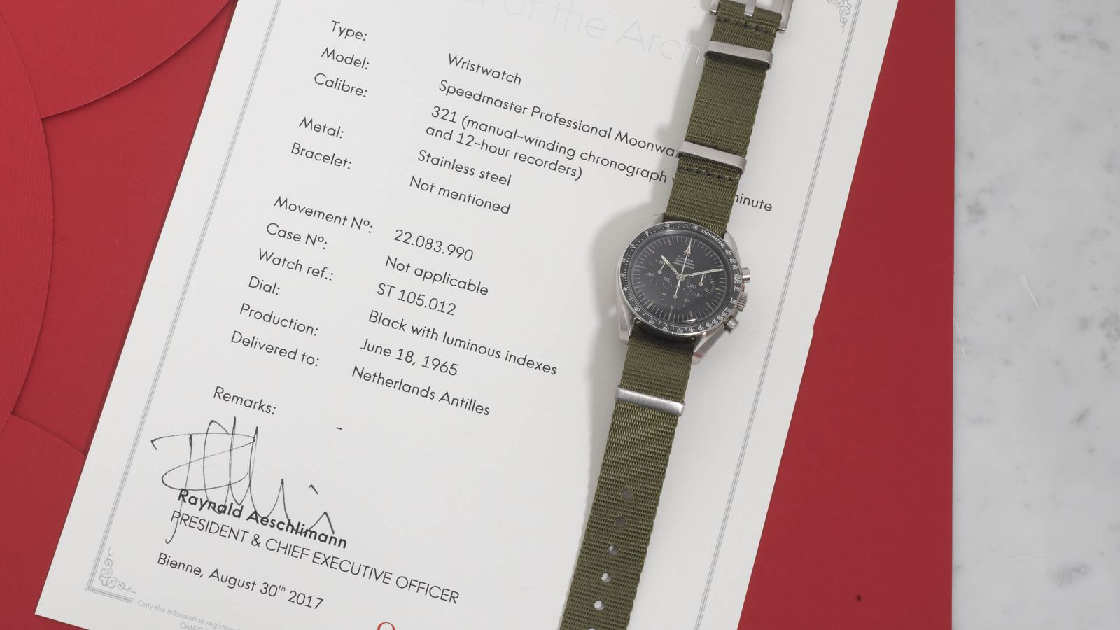 Omega Omega Speedmaster 105.012-64 delivered to the Dutch Antilles