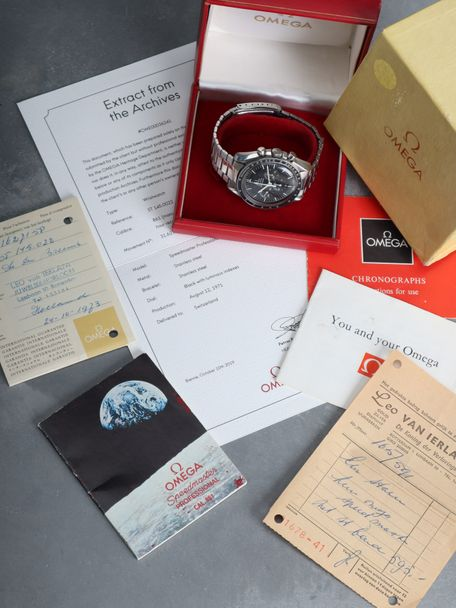 Omega SOLD-Omega Speedmaster 145.022-69 STRAIGHT WRITING Box and Papers original invoice sold in 1973