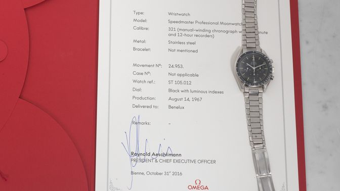 Omega Omega Speedmaster 105.012-66 HF with Omega box and Extract of the Archive