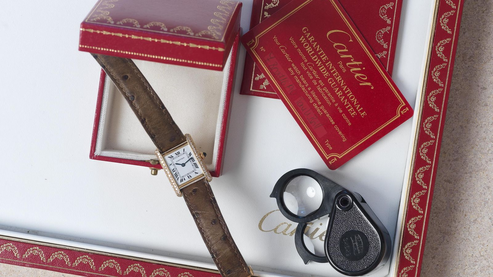 Cartier Cartier Tank Louis Paris diamonds box and papers