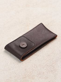 WRIST ICONS Dark brown and orange leather watch pouch