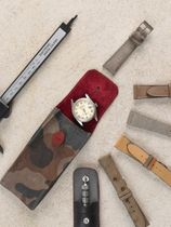 WRIST ICONS GONE FISHING green camouflage leather watch pouch