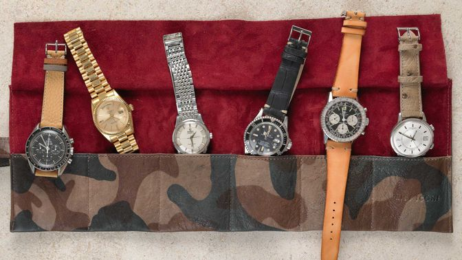 WRIST ICONS GONE FISHING green camouflage watch roll