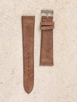 WRIST ICONS Pale beige brown suede leather watch strap