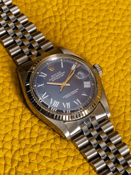 Rolex Rolex Datejust 1601 from 1975 with a rare blue Buckley dial and a fluted gold bezel