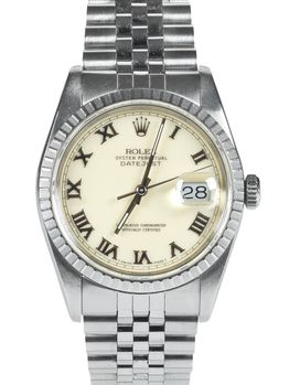 Rolex SOLD-Rolex Datejust 16220 cream Roman dial