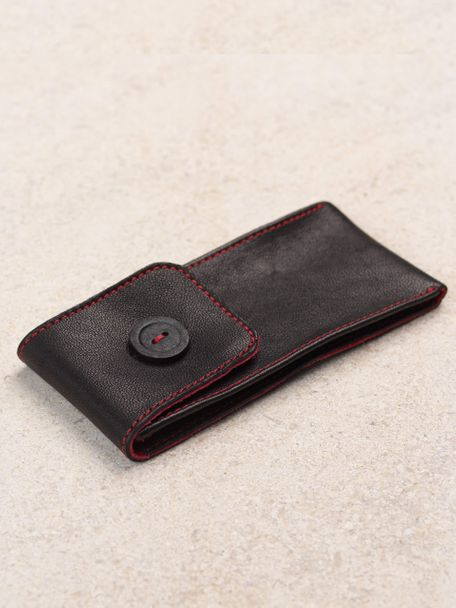WRIST ICONS Signature black and red leather watch pouch