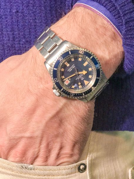 Tudor SOLD-Tudor 7021-0 Submariner Blue Snowflake 1969 roulette date wheel
